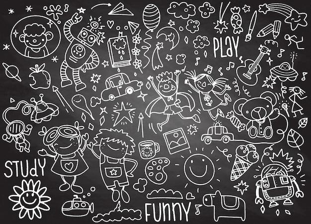 Hand drawn kids doodle set