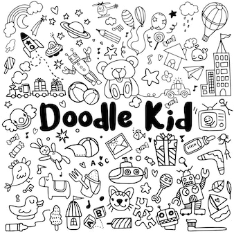 Hand drawn kids doodle set.