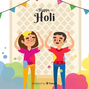 Hand drawn kids holi fesival background