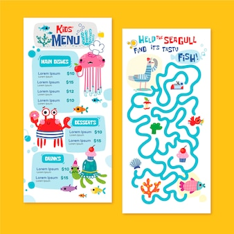 Hand drawn kids menu template