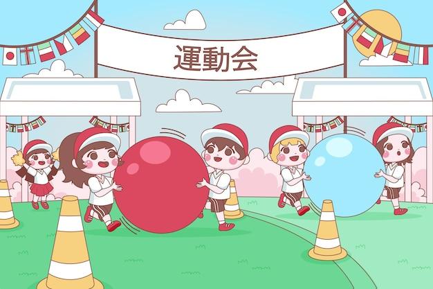 元海で遊ぶ手描きの子供たち