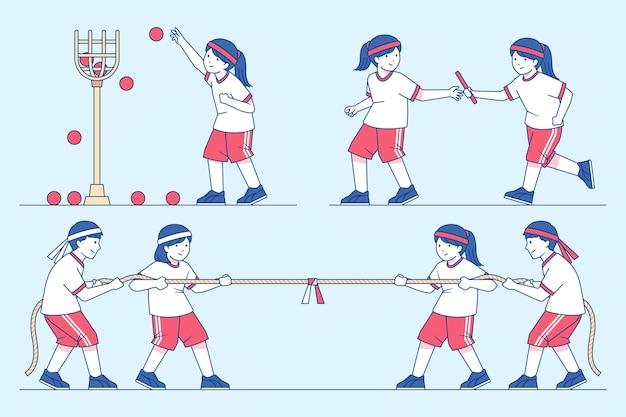 Нарисованные от руки дети, играющие в выживший спортивный японский фестиваль