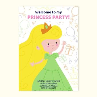 Нарисованное от руки детское приглашение на день рождения принцессы