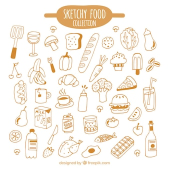 Hand drawn kind of foods pack