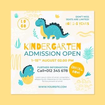 Hand drawn kindergarten squared flyer
