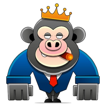 Hand drawn king of monkeys coloring page. stock illustration on a white background. for design, decoration, logo.
