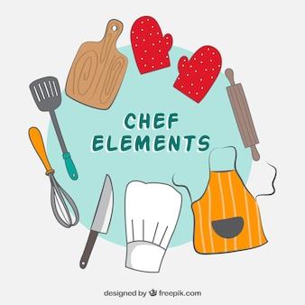 手描きのキッチン要素の背景