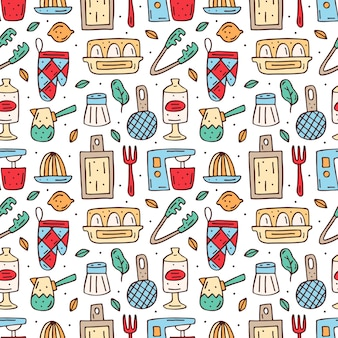 Hand drawn kitchen elements seamless pattern
