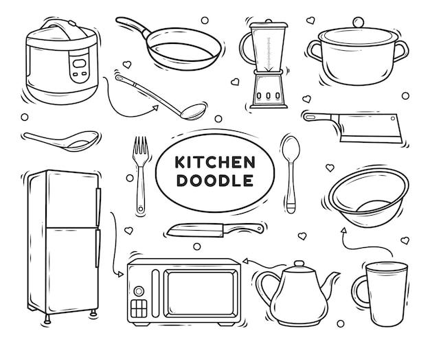 Hand drawn kitchen equipment cartoon doodle design coloring
