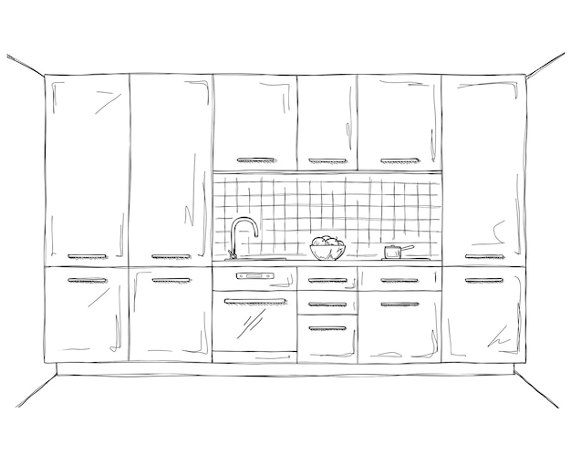Hand drawn kitchen furniture.  illustration in sketch style.