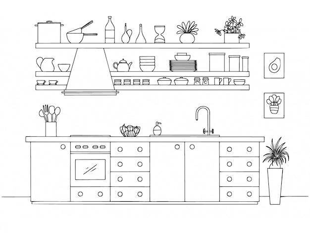 Hand drawn kitchen.  illustration in sketch style