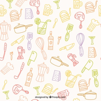 Hand drawn kitchen tools pattern