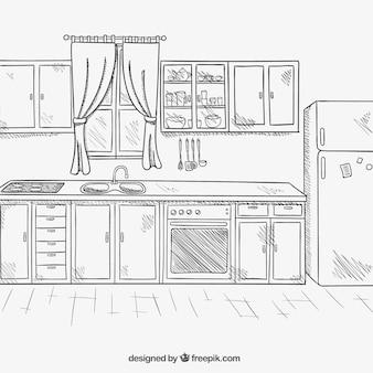 Hand drawn kitchen