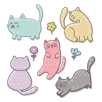 Hand drawn kitten elements
