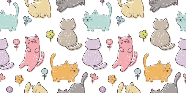 Hand drawn kitten seamless pattern