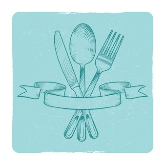 Hand drawn knife, spoon and fork in retro ribbons isolate. vector illustration