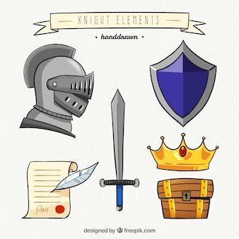 Collezione di elementi cavaliere disegnati a mano