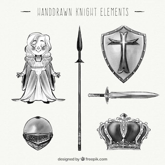 Hand drawn knight elements collection