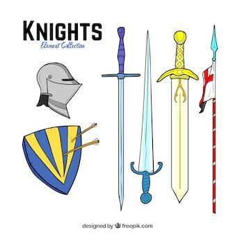 Armi da cavaliere disegnate a mano e complementi