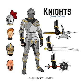Hand drawn knight with elements
