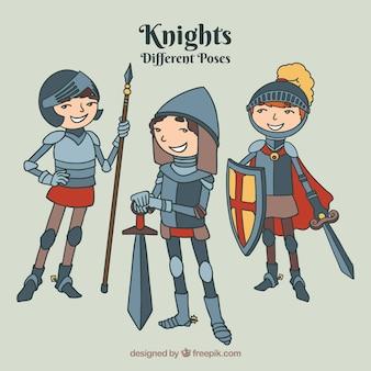 様々なポーズで手描きの騎士コレクション