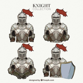 Hand drawn knights collection in different poses