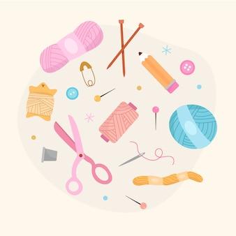 Hand drawn knitting elements