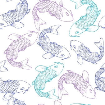 Hand drawn koi fish vector illustration seamless pattern