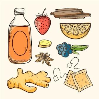 Нарисованная рукой иллюстрация чая чайного гриба с ингредиентами