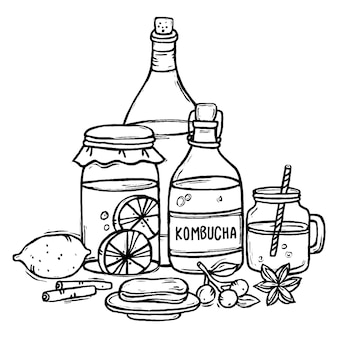 Illustrazione disegnata a mano del tè di kombucha con gli ingredienti