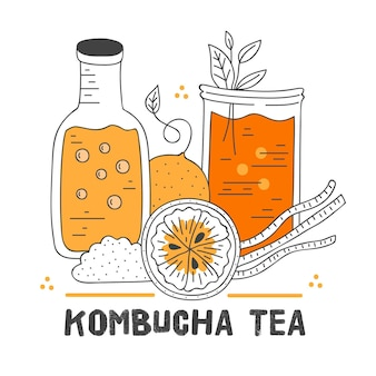Hand drawn kombucha tea