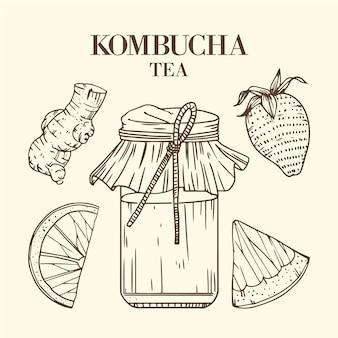 Tè kombucha disegnato a mano