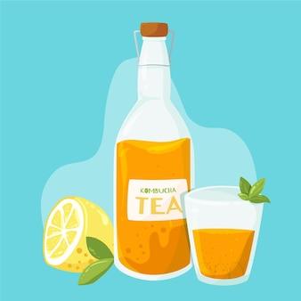 Hand drawnkombucha tea