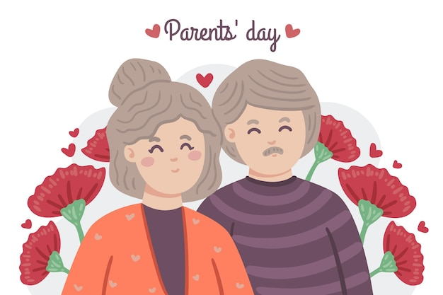 손으로 그린 한국 부모의 날 그림