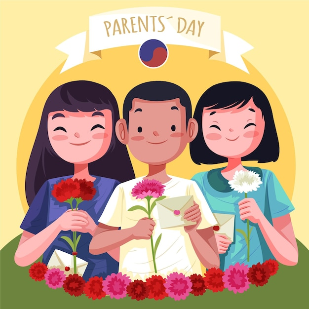 Hand drawn korean parents' day illustration