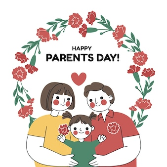 Hand drawn korean parents' day illustration