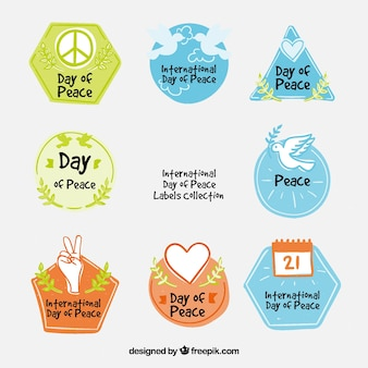Hand drawn labels for day of peace