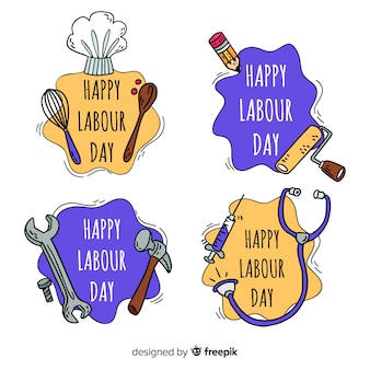 Hand drawn labor day badge collection