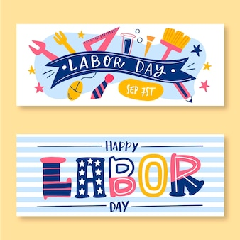 Hand drawn labor day banners set