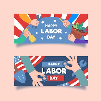 Hand drawn labor day banners template