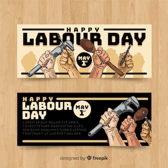 Hand drawn labor day banners