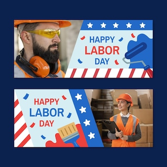 Hand drawn labor day horizontal banners set with photo