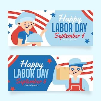 Hand drawn labor day horizontal banners set