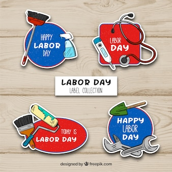 Hand drawn labor day label collection