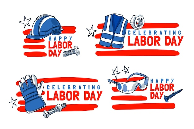 Hand drawn labor day labels collection