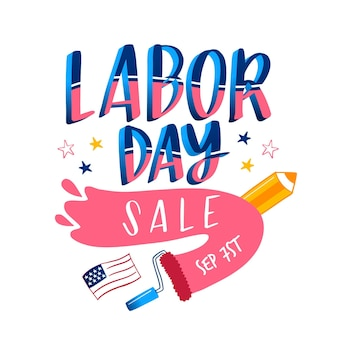Hand drawn labor day sale banner