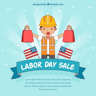 Hand drawn labor day sale composition