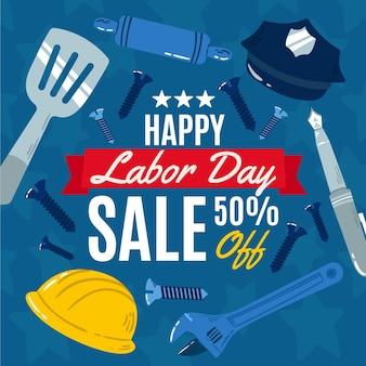 Нарисованная рукой иллюстрация продажи дня труда