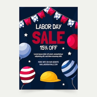 Hand drawn labor day sale vertical poster template