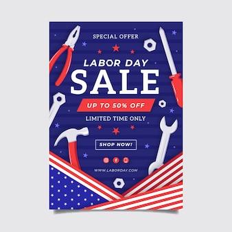 Modello di poster verticale di vendita di festa del lavoro disegnato a mano